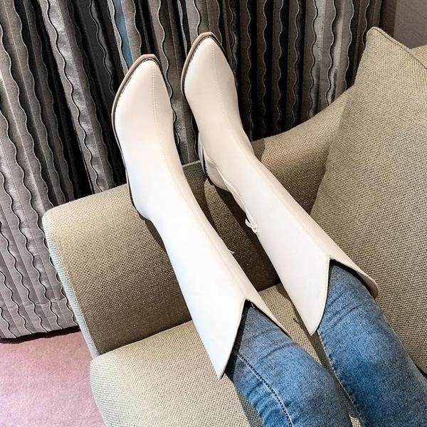 2021年新款秋冬加絨網紅不過膝V口高筒長靴女尖頭粗跟騎士馬丁靴 百分百
