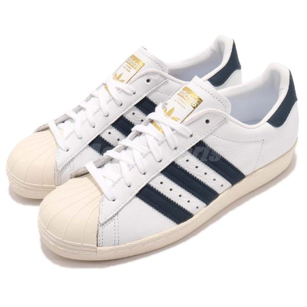 【海外限定】adidas 休閒鞋 Superstar 80s 金標 奶油底 白 藍 復古貝殼頭 男鞋 女鞋【PUMP306】 BZ0145