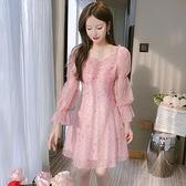 洋裝連身裙甜美S-2XL新款法國小眾女神款提花雪紡長袖裙子T613-1069.胖胖唯依