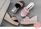 楔型拖鞋 璀璨水鑽點綴滾邊撞色 楔型涼鞋...