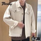 『潮段班』【HJ003034】韓版素面港版復古風格寬鬆夾克