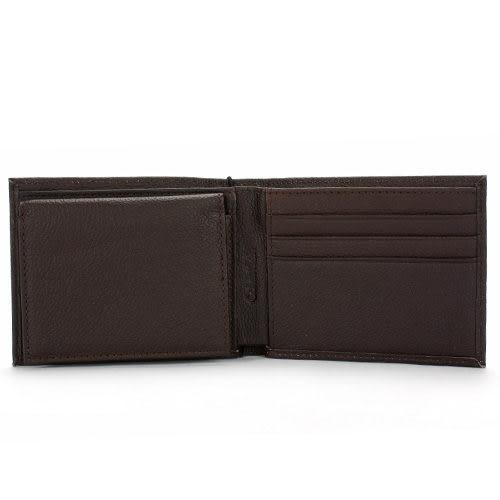 Calvin Klein荔枝紋皮革可拆式證件短夾鑰匙圈禮盒(咖啡色)103000