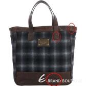[ NG大放送 ]DOLCE & GABBANA 拼接毛呢購物包(咖啡色) 1140493-37