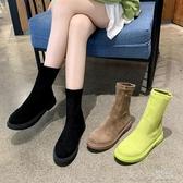 靴子 馬丁靴女英倫風2020新款百搭彈力瘦瘦靴網紅短靴子春秋單靴ins潮 育心館