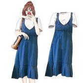 牛仔裙大尺碼新品夏裝背帶裙寬鬆牛仔連身裙 長裙 好康免運