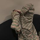 超火cec長袖T恤女春新款韓版條紋打底衫ins潮學生外穿寬鬆上衣服
