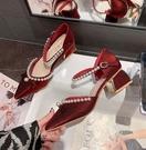粗跟鞋尖頭涼鞋女2021夏季新款時尚百搭韓版網紅珍珠仙女風中空粗跟單鞋 迷你屋 618狂歡