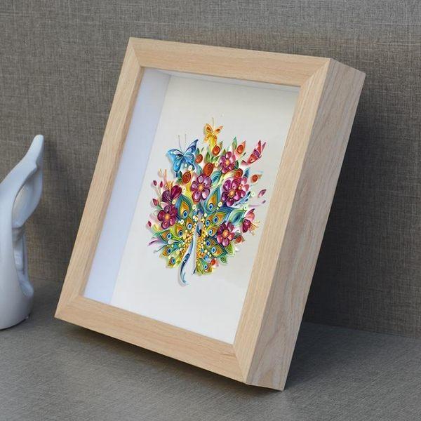 實木標本加厚立體相框蝴蝶絲帶繡永生花立體衍紙畫框電錶箱框定做  巴黎街頭