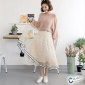 CANTWO JEANS條紋織帶配條點點紗裙-共兩色