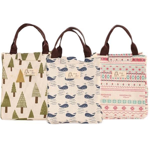 帆布手提保溫袋/便當包(1入) 小樹/花紋/鯨魚 3款可選【小三美日】