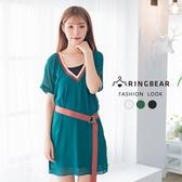 氣質洋裝--真兩件優雅V領附時尚腰帶雪紡連袖連身裙(黑.紅.綠M-3L)-D458眼圈熊中大尺碼