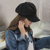 現貨-韓國貝雷帽女秋冬麂皮絨八角帽子男英倫畫家帽女士韓版純色鴨舌帽
