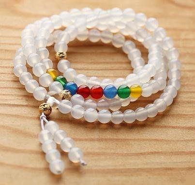 水晶 白瑪瑙佛珠手鏈