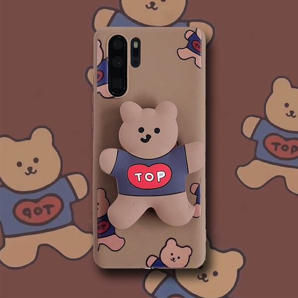 創意卡通三星S21 Ultra手機殼 可愛SamSung S21手機套 日韓三星S21保護殼 立體支架小熊Galaxy S21+保護套