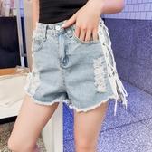 夏季韓版破洞牛仔褲女休閒顯瘦港味不規則毛邊短款高腰闊腿熱褲