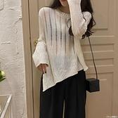 鉤織上衣不規則開叉鏤空針織衫  女2021 外搭長袖上衣薄款防曬罩衫潮榮耀上新
