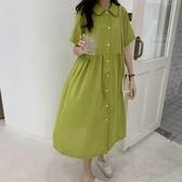 襯衫洋裝牛油果綠襯衫洋裝女夏2020新款韓版寬鬆中長款短袖洋裝ins潮 JUST M