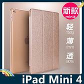 iPad Mini 4 多折支架保護套 蠶絲紋側翻皮套 半透背殼 休眠喚醒 超薄簡約 平板套 保護殼