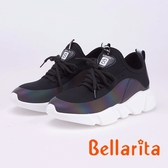 bellarita.拼接飛織透氣百搭撞色休閒運動鞋(9402-98黑色)