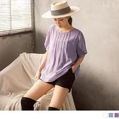 純色簡約壓摺抽皺五分袖/短袖上衣