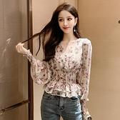 2021年新款春裝顯瘦洋氣長袖t恤打底衫女裝短款上衣時尚雪紡衫潮 韓國時尚週