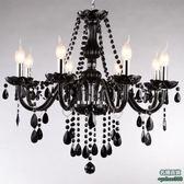 不二439黑色蠟燭水晶燈歐式客廳吊燈簡約餐廳臥室玻璃水晶蠟燭燈飾燈具