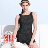 連身泳裝MIT台灣製造幾何拼接連身平口褲泳衣(附帽)【36-66-818126-18】ibella 艾貝拉