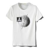 短袖T恤-絲光棉線條圓圈印花男上衣3色73mj35【巴黎精品】
