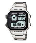 【台南 時代鐘錶 CASIO】卡西歐 宏崑公司貨  AE-1200WHD-1A 金屬感方形電子錶