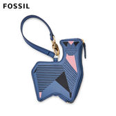 FOSSIL Gift 藍色羊駝真皮零錢包