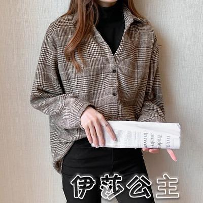 格子衫 實拍 復古格子襯衫女寬鬆秋冬款韓版加厚假二件翻領襯衣 3558-17