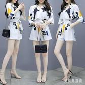 夏季女神范休閒套裝女 2020新款時尚兩件式運動服 雪紡短袖褲裝 TR499『寶貝兒童裝』