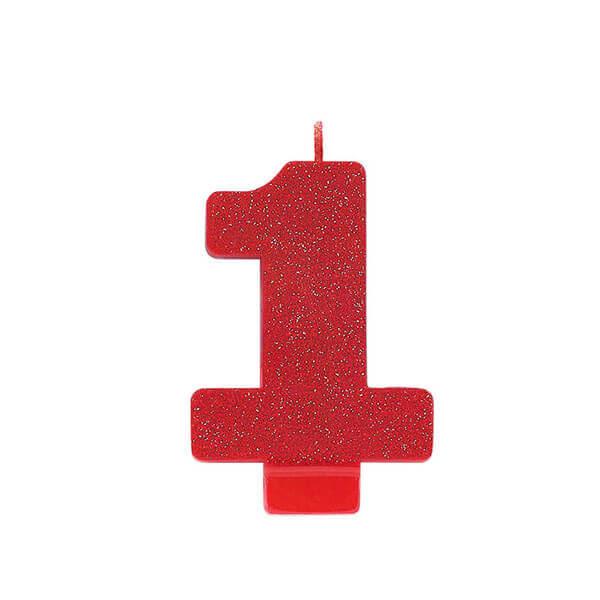 數字蠟燭-1-紅