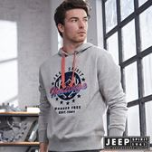 【JEEP】美式經典圖騰刷毛長袖帽TEE (灰)