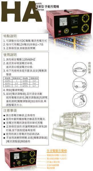 營業型手動充電機 (HA系列-100V15A)