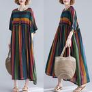 加肥大碼彩色條紋拼接不規則短袖長裙粗腰顯...