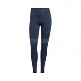 adidas 長褲 Techfit 3-Stripes Long Tights 藍 紅 女款 緊身褲 跑步 健身 運動休閒【ACS】 GM2850