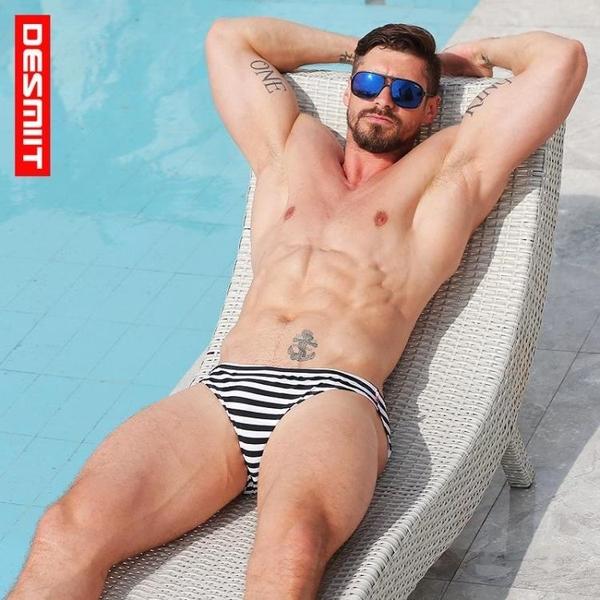 △男泳褲△19年新款條紋三角泳褲 3D立體剪裁 輕薄 快乾 DES_S3925
