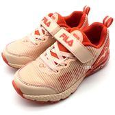 《7+1童鞋》FILA 2-J829S-522 輕量透氣 魔鬼氈 氣墊鞋 運動鞋 慢跑鞋 4228 粉色(橘色)
