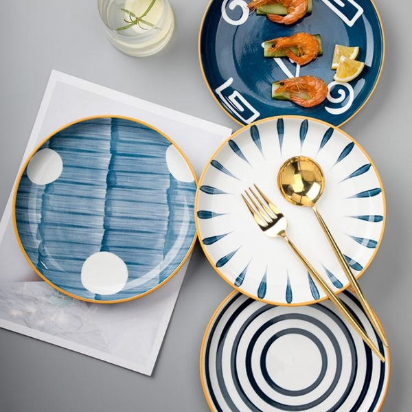 日式釉下彩陶瓷盤子菜盤套裝組合家用碟子創意餐具網紅牛排西餐盤 {限時免運}