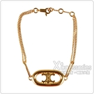 Celine MAILLON TRIOMPHE系列黃銅鍍金LOGO設計手鍊(金)