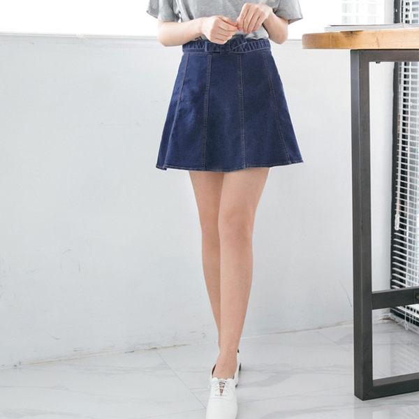 OB嚴選《CA975-》車縫造型蝴蝶結腰頭設計A字牛仔短裙--適 S~XL