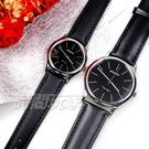 mono 簡約 高雅 設計美學 藍寶石水晶 真皮錶帶 小羊皮 對錶 黑色 5003B黑釘大+5003B黑釘小