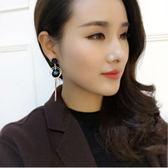 韓國 吸睛 鑽球 耳飾 誇張 氣質 長款 不對稱 手工 耳釘 耳環 女