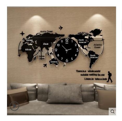 創意鐘表掛鐘客廳現代簡約大氣時尚裝飾北歐世界地圖個性石英時鐘