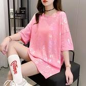 長款上衣 超火短袖上衣女正韓寬鬆中長款亮閃閃大版個性上衣服-Ballet朵朵