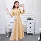 西裝洋裝 歐美范西裝領連身裙心機設計感小眾秋冬裝2020年新款氣質過膝長裙 艾維朵