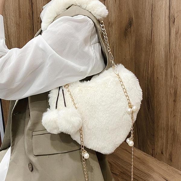 鍊條包 鍊條斜背包女包毛絨側背包包2021新款潮手提包可愛心形小包包女包 【618 大促】