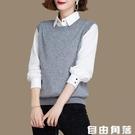 針織背心 新款羊毛線針織馬甲 寬松外穿毛衣 圓領外套 自由角落