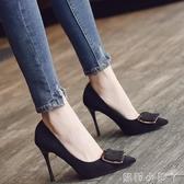 2019春新款時尚絨面中跟ol女鞋黑色方扣單鞋女職業高跟鞋尖頭細跟   蘿莉小腳丫